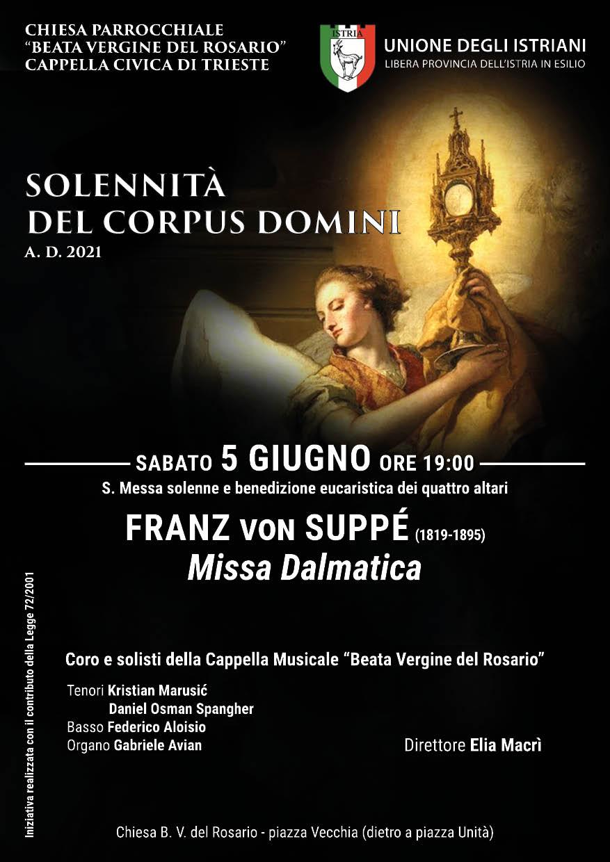 Locandina della Messa dalmatica di Suppé, sabato 5 giugno 2021.